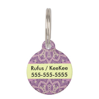 Purple Lace Pattern Pet Tags