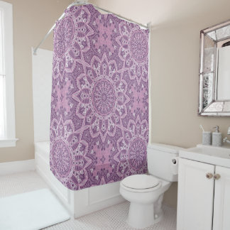 Purple Lace Pattern Shower Curtain