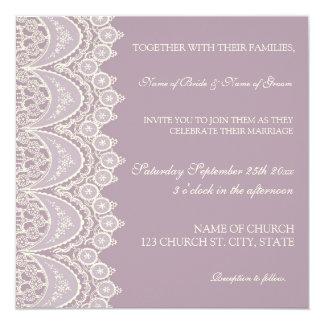 Purple Lace Pattern Wedding Invitation Cards