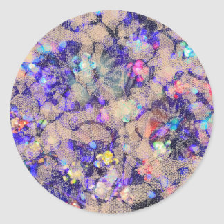 Purple Lace Roses Round Sticker