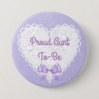 Purple Lacy Proud Aunt-To-Be Baby Shower Button