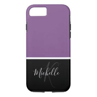 Purple Ladies Classy Monogram iPhone 8/7 Case