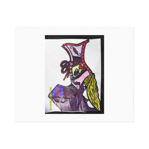 purple lady in shoe stretched canvas prints
