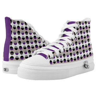 Purple Lady Polka Dots Chic Modern Retro Stylish High Tops