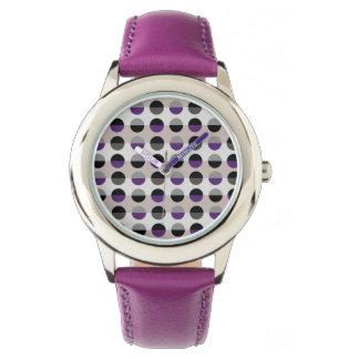 Purple Lady Polka Dots Retro Chic Modern Stylish Watch