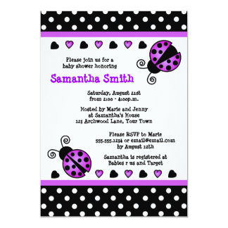 Purple Ladybug Baby Shower Black White Polka Dots 13 Cm X 18 Cm Invitation Card