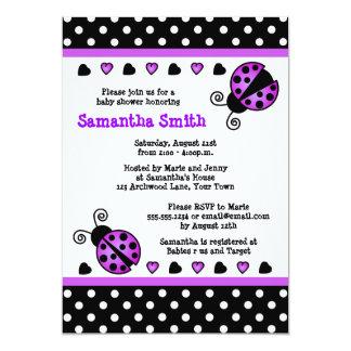 Purple Ladybug Baby Shower Black White Polka Dots Card