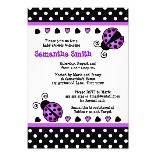 Purple Ladybug Baby Shower Black White Polka Dots Announcements