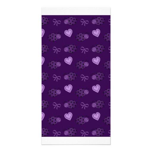 Purple ladybugs hearts bows pattern personalized photo card