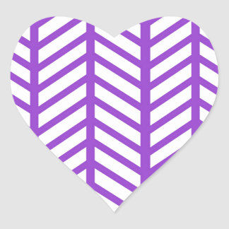 Purple Lattice Stripe Heart Sticker