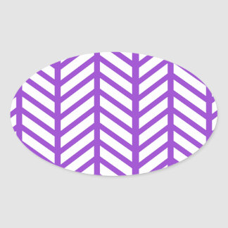 Purple Lattice Stripe Oval Sticker