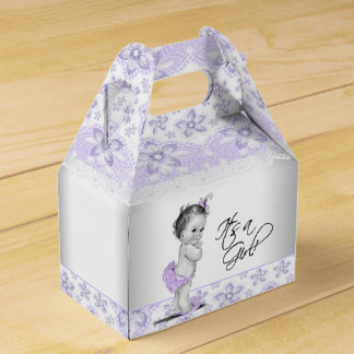 Purple Lavender and Gray Baby Shower Party Favour Box