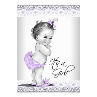 Purple Lavender and Grey Baby Girl Shower Card