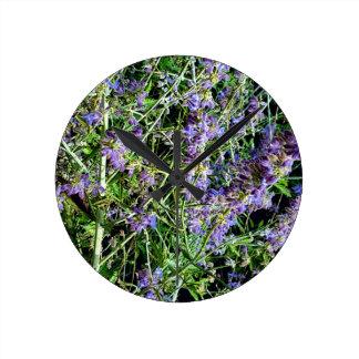Purple Lavender Botanical Flowers. Clock