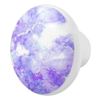 Purple Lavender Cloudy Marble Stone Ceramic Knob