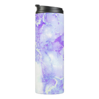Purple Lavender Cloudy Marble Stone Thermal Tumbler