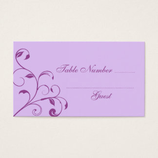 Purple & Lavender Curls Wedding Table Place Cards