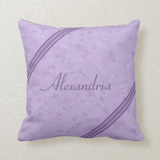 Purple Lavender Custom Striped Monogram Throw Pillow