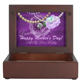 Purple & Lavender Diamond Roses & Pearls Keepsake Box