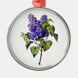 Purple Lavender Drawn From Nature Silver-Colored Round Decoration