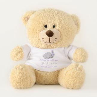 Purple Lavender Elephant Birth Keepsake Design Teddy Bear