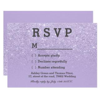 Purple lavender faux glitter ombre RSVP wedding Card