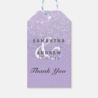Purple lavender faux glitter ombre wedding favor gift tags