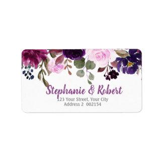 Purple Lavender Floral Boho Address label
