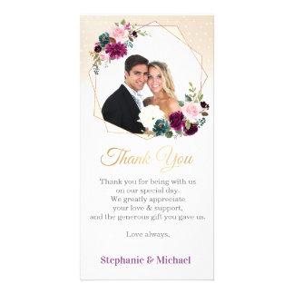 Purple Lavender Floral Boho Photo Thank you card