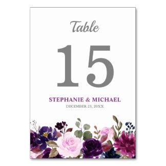 Purple Lavender Floral Boho Table Number Card