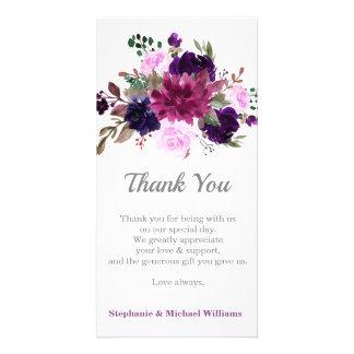 Purple Lavender Floral Boho Thank you card