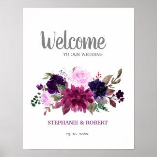 Purple Lavender Floral Boho Wedding Welcome Poster