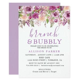 Purple Lavender Floral Brunch & Bubbly Invitation