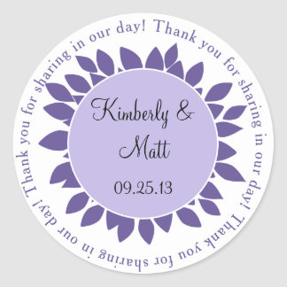 Purple Lavender Flower Petals Wedding Favor Sticke Classic Round Sticker
