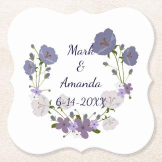 Purple Lavender Flowers Wreath Bride and Groom Paper Coaster