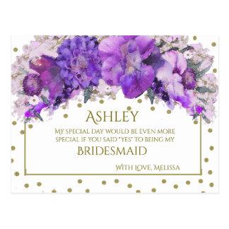 Purple Lavender Gold Confetti Bridesmaid Postcard
