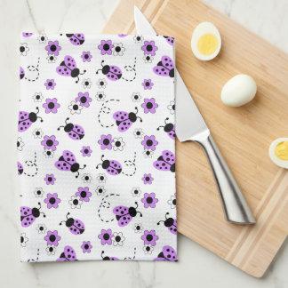 Purple Lavender Ladybug Lady Bug Floral Flowers Tea Towel
