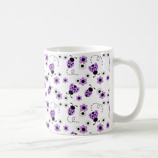 Purple Lavender Ladybug Lady Bug Floral Girl Coffee Mug
