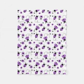 Purple Lavender Ladybug Lady Bug Floral Teen Girl Fleece Blanket