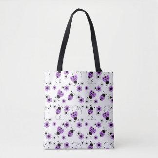 Purple Lavender Ladybug Lady Bug Floral Teen Girl Tote Bag