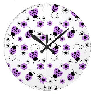 Purple Lavender Ladybug Lady Bug Girl Nursery Wall Clocks