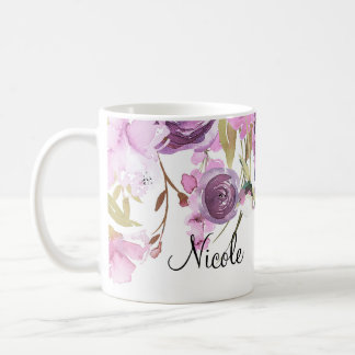 Purple Lavender Lilac Watercolor Floral Chic Coffee Mug