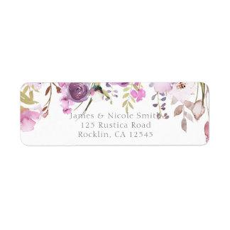 Purple Lavender Lilac Watercolor Floral Wedding Return Address Label