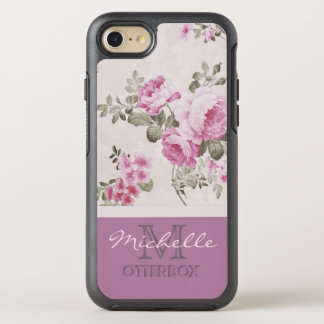 Purple Lavender Rose With Monogram and Name OtterBox Symmetry iPhone 8/7 Case