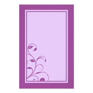 Purple & Lavender Swirls and Curls Stationary Stationery