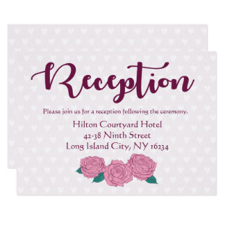 Purple Lavender Wedding Reception Pink Rose Heart Card