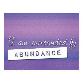 Purple Law of Attraction Abundance Affirmation Postcard