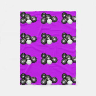 Purple Lawn Bowls Pattern, Fleece Blanket