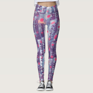 purple leaf print leggings