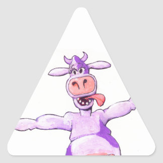 Purple Leaping Cow Triangle Sticker